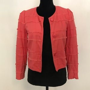 J. Crew Coral Ruffle Accent Lined Blazer Size 2